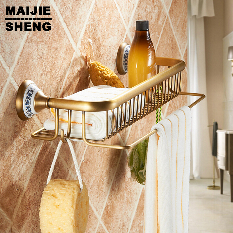 basket for bathroom holder Bathroom antique ceramic brass shower basket bathroom shelf basket for square<br>