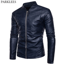 Motorcycle Leather Jacket Men 2017 High Quality Men's Autumn Winter PU Leather Jacket Casual Stand Collar Mens Jackets and Coats(China)