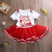 1-7Years Cute Baby Girls Dress Christmas Candy Cane Party Pageant Dress Toddler Clothes
