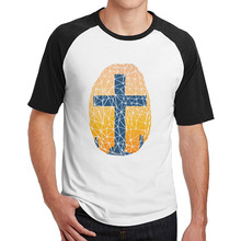 Jesus crosses and Site man's t shirts short sleeve graphic printed O-Neck fashion(China)