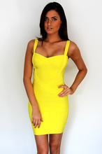 New Fashion Womens Mini Sexy Short Bandage Dress Yellow Halter Neck Tops Evening Wedding Party Pattern Summer  HL 1472