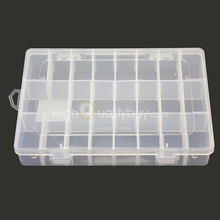 24 Grid Jewelry Earring Ring Storage Box Case Coin Keys Pill Container Durable