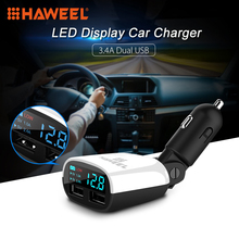 HAWEEL 3.4A 2 Posts USB Car Charger LED Display Swing Head Design Car Charger for Mobile Phone(China)