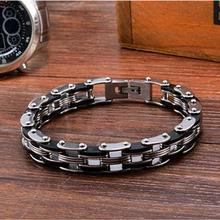 Mechanical Motocycle Chain Bracelet Men In Black Titanium Stainless Steel Fashion Mens Jewelry Industrial Design Mens Accessory(China)