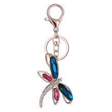 Colorful Dragonfly Keychain Rhinestone Keyring Bag Pendant Top Alloy Bag Car Buckle Key Chain Purse Animal Crystal Accessories