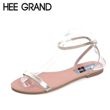 HEE GRAND Women's Sandals 2017 NEW Patent Leather Shoes Woman Summer Slip On Ankle Strap Flats Ladies Beach Shoes XWZ3702(China)
