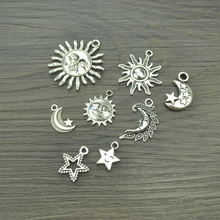 Mixed 2*8pcs/lot antique charms tibetan silver metal sun, moon & stars diy pendants fit bracelets&necklace jewelry making 3002(China)