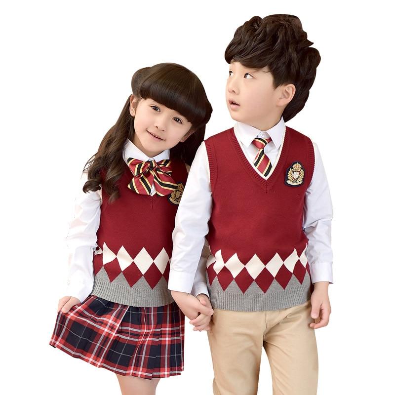 Kids School Uniforms For Girls Boys School Uniform Suit Jackets V-neck Vest New 2018 Cotton Skirt Jacket Pants School Uniform<br>