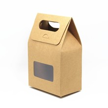 90Pcs/Lot DHL Kraft Paper Portable Box With Window Wedding Favor Gift Crafts Packaging Box With Handle Jewellery Candy