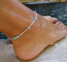 1pc Unique Nice Beads Silver Chain Anklet Ankle Bracelet Foot Jewelry 2015 New free shipping XY-B97