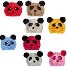 Panda Knitted Baby Hats for Bebes Girls Wool Cap Kids winter hat Boys Beanie snapback Child Bucket Hat Bonet Knitting(China)