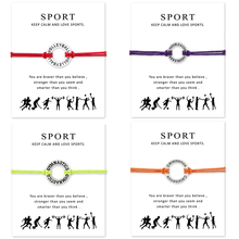 Silver Gymnastics Volleyball Cheerleader Calisthenics Bracelets Adjustable For Women Men Girls Gift With Card(China)