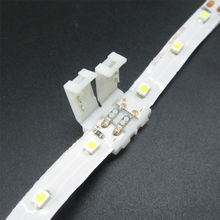 50pcs 3528 LED strip connector clip 8mm 2 pin, mark polarity no soldering pcb connector clip, free shipping