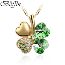 BAFFIN Rose Gold Color Crystal Four Leaf Clover Pendant Necklaces Made with Swarovski Elements Women Gift Jewelry