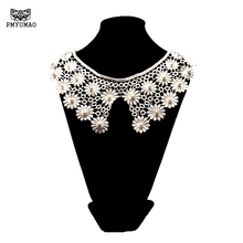 PMYUMAO 1pcs Lace Fabric Sewing Supplies Lace Collar off Beautiful white black Flower and Heart Venise Lace Applique Trim(China)