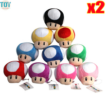 New 2pcs Super Mario Mushroom Toad Plush Toy Peluche Baby Dolls Anime Game 9cm 10 Colors Kids Gift Collection Wedding Decoration