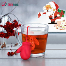 Christmas gloves Tea Strainer Infusers Makers Silicon Loose Leaf Coffee Bag Mug Filter Kitchen Tools