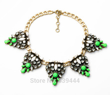 New Design Items Gold Color Alloy Green Rhinestone Flower Pendant Necklace for Women Party Gift(China)