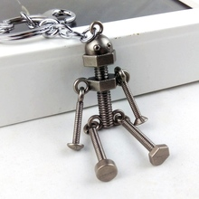 2017 cool vintage retro punk rock manly metal robot key chain ring unique keychain keyring novelty creative trinket women men