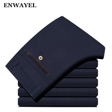 ENWAYEL Autumn Casual Pants Men 100% Cotton High Quality Straight Business Male Trousers Work Mens Brand Clothing Black BH-002