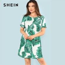SHEIN Tropical Print Ruffle Cuff Dress Boho Summer Round Neck Short Sleeve Ruffle Dress Women Plus Size Print Beach Dress
