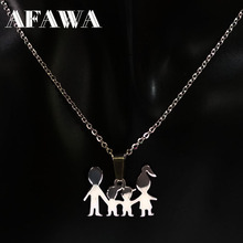 Mama Girl Boy Doll Pendant Necklaces Kid Stainless Steel Necklace for Women Jewelry Neckless gift collares joyeria N2307