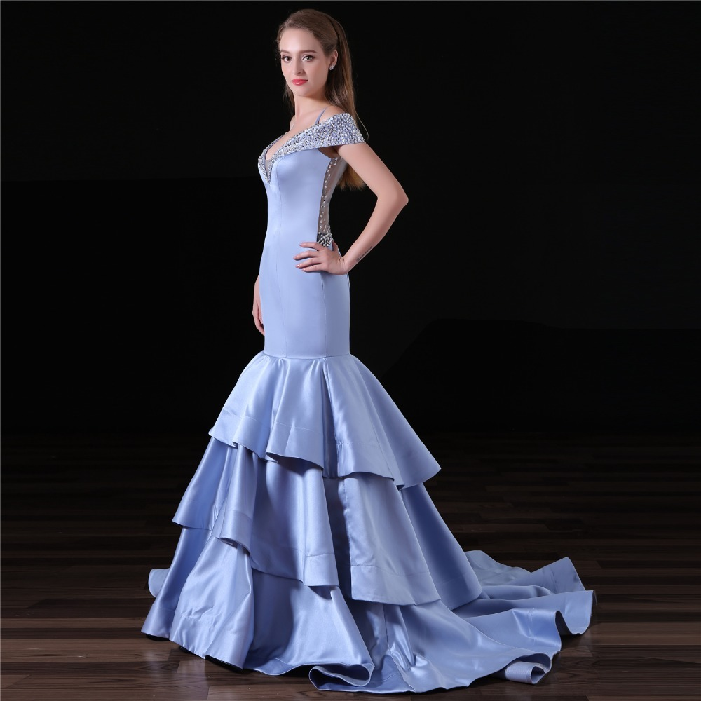 2018 New Arrival Backlacegirl Beautiful Elegance Mermaid Sweetheart Ruffle Skirts Satin Beading Back See Through Sexy Prom Dress