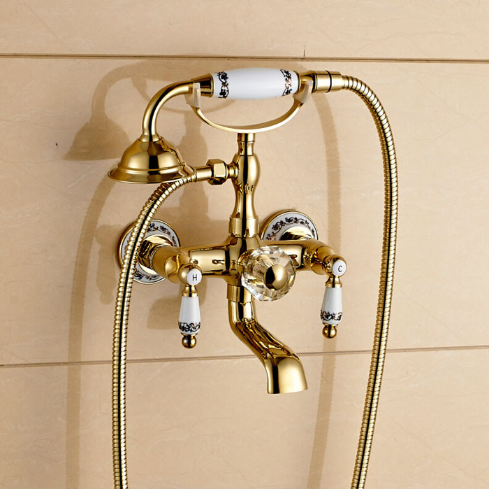 Wall Mount Dual Ceramic Handles Bathtub Faucet Telephone Style Tub Shower Mixer Taps<br><br>Aliexpress