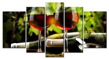 5 Pieces Decor Art of Wine on Table Painting The pictures Print on Canvas for Modern Home Decor Decoration