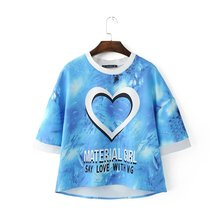 2017 Summer new Women fashion loving heart blue ocean short sleeve tops casual letters print loose blouse shirt #R386