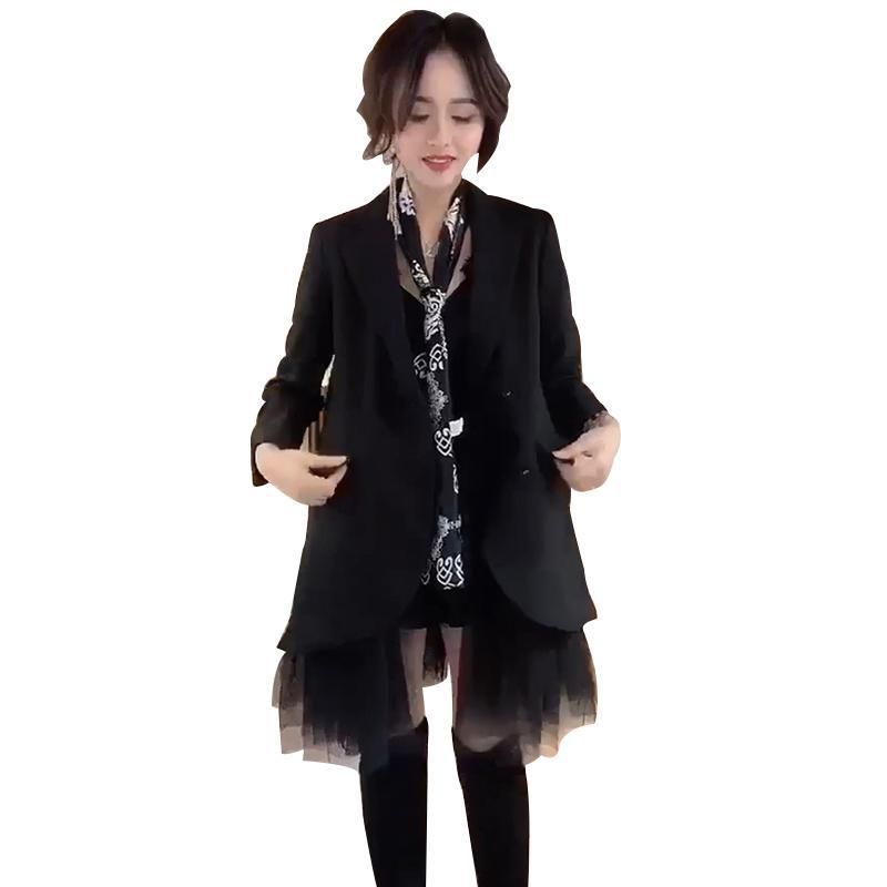 Z-ZOUX Women Blazer Mesh Stitching Long Blazer Jacket Loose Leisure Ladies Blazer Jacket Fashion Long Jackets Women Coats Black