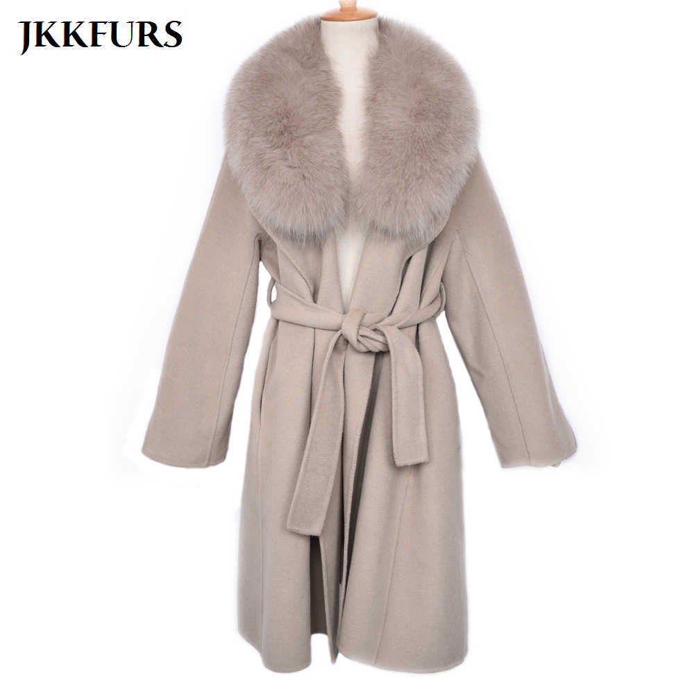 fc9e986f1a5 Women Winter Wool Coat with Real Fox Fur Collar Cashmere Jacket with Belt Women  2019 Fashion