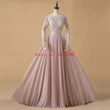 Real Pics Champagne Prom Dresses 2017 Long Sleeves Backless Scoop Neck Lace Appliques Beaded Sheer Tulle Soft Chiffon Prom Gown