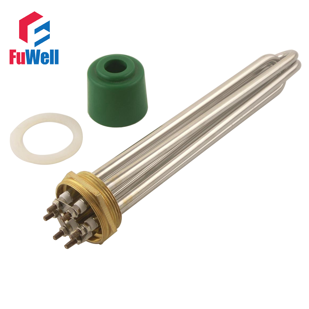 Stainless Steel 2 Inch Copper Head Heating Tube 220V 9KW DN50 Electric Heater Pipe Water Boiler Heating Element<br>