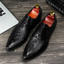 HANMCE High Quality Men Black Dress Shoes Pointed Toe Lace Up Crocodile Pattern Blue Leisrue Leather Shoes Man Size 37-44