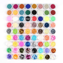 New 72 pots/set nail art decoration Acrylic nail glitter powder 72 kinds glitter for nail(China)
