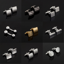 Luxury Fashion Laser Engraved Check Sudoku Design Cufflink 18 style for mens Brand cuff buttons cuff links High Quality Jewelry(China)
