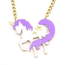 Lychee 1 piece New Arrival Bling Bling Acrylic Purple Unicorn Pendant Necklace Cute Horse Statement Exaggerated Necklace