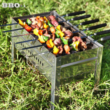 6 10pcs 21.5in Wood BBQ Skewers Stainless Steel Barbecue Grill Needle Wooden Handle BBQ Fork Long Meat Flat Kebob Skewer set(China)
