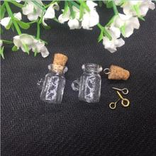 20pieces 20mm cup shape tiny Charm empty glass Bottle sample vial jars with cork eyehook Perfume essential oil jewelry findings