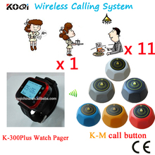Wireless Customer Calling System Watch Waiter Paging Call Waiter Pager Button Customer Service(1 watch+11 table call button)(China)