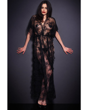 MOONIGHT Opeing Unique Lace Exotic Apparel Long Gowns Chemise Baydoll Sexy lingerie Fashion Side Leg Slit