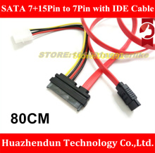 2PCS New Product 80cm SATA 22Pin 7+15Pin Female to SATA Female Extension Cable with Molex IDE 4Pin Power Cable(China)