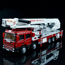 1 Pcs Alloy Engineering Lift Up Fire Engine Vehicle 1:50 Aerial Fire Truck Model Simulator Ladder Support Original Die Cast Toys