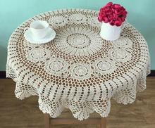 Pastoral Cotton DIY Crochet tablecloth white Table cloth towel overlay round lace Tablecloths Cover for home wedding decoration