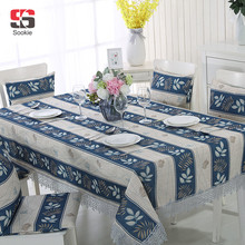 Blue Rectangle Striped Table Cloth Simple Water Soluble Lace Leaves Printed Tablecloth Cotton Line Blending for Hotel Home Party