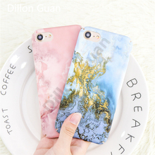 For iphone 7 case Blue Gold Marble Fantastic Ocean case for iphone 8 case DILLON GUAN Granite Stone Print Hard shell Capa Fundas(China)