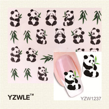 YZWLE 1 Sheet New Design 3D Water Transfer Printing Nail Art Sticker Decals Cute Panda DIY Nail Decoration Styling Tools