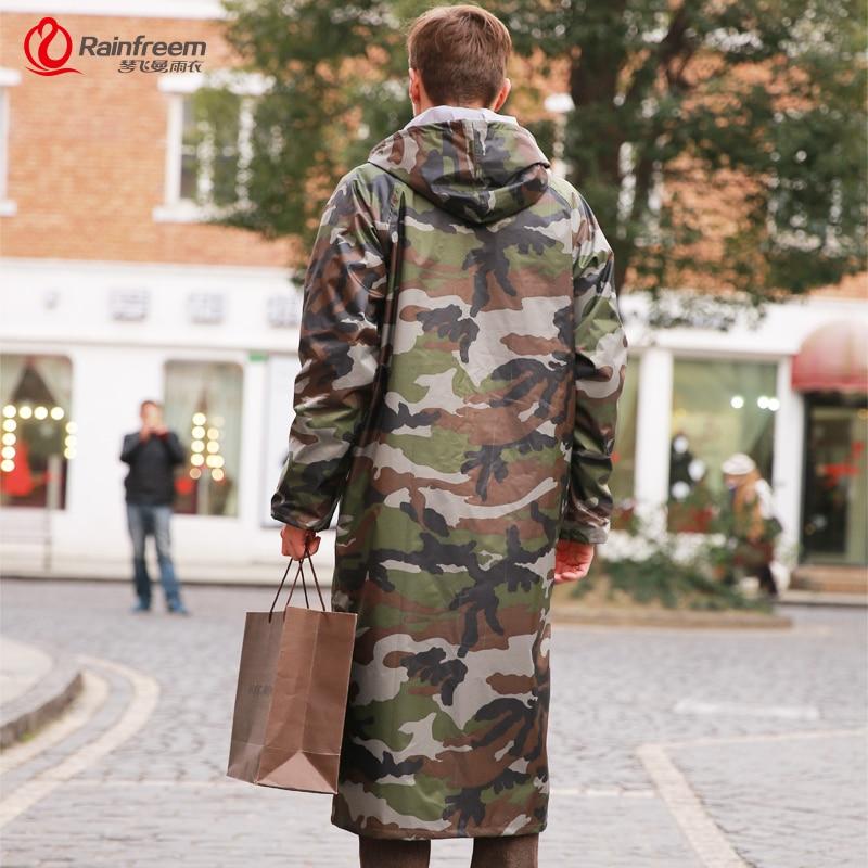 Rainfreem Camouflage Men Raincoat Impermeable Rain Jacket Poncho Extra Large S-6XL Highing Rainwear Army Green Rain Gear