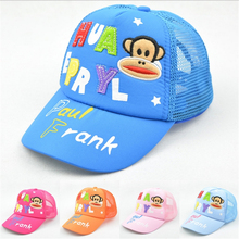 summer kid's hat Letters & monkey (old and little monkey )embroidery children baseball cap Baby mesh cap sun hats 1 to 7 Y
